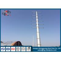 Dodecagonal Hot Dip Galvanized Steel Pole , Steel Transmission Poles For Electrical Power Transmission Line