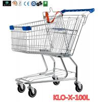 Cheap Portable Metal Rolling Grocery Supermarket Shopping Trolley Carts Zinc Plated for sale