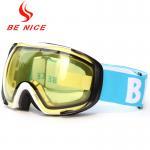 Cheap Helmet Compatible Anti Fog Ski Goggles For Mens , Yellow Snowboard Goggles for sale