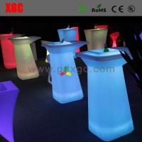 Buy cheap Club table with led lighting GF323 light furniture plastic Led furniture bar table set round coffee table from wholesalers
