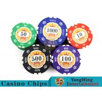 Cheap Sticker Pure Casino Poker Chip Set With UV Logo , Ceramic Poker Chip Sets  for sale