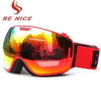 Cheap Durable Comfortable Red Snowboard Goggles , Double Lens Ski Goggles With Anti Burst for sale