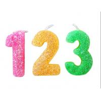 Cheap Rainbow Color Glitter Number Candles For Birthday / Charistmas / Party Decoration for sale