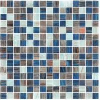 Light blue blend with gold line glass mosaic mix pattern paper and mesh