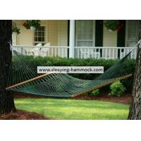 Cheap Forest Green Two Person Cool Polyester Rope Hammock  , Traditional Double Rope Hammock for sale