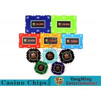 Cheap Circular / Square Shape Professional Poker Chip Set With 25 Pcs In A Shrink Roll for sale
