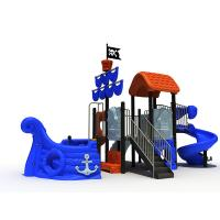 Quality Pirate Ship Themed Daycare Outdoor Playground Equipment Sea Sailing Type With Spiral Slide wholesale