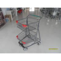 Cheap Two Layer Basket Wire 4 Wheel Shopping Trolley / Cart With Color Poweder Coating for sale