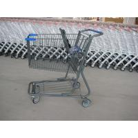 Quality Supermarket Wire Shopping Basket With Wheels , Commercial Shopping Trolley wholesale