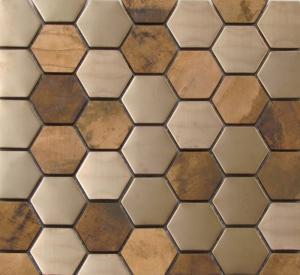 Quality Metallic Copper Mosaic Tile Backsplash Hexagon Stainless Steel Subway Whole