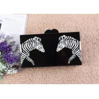 Two Zabras Pattern Acrylic Clutch Bags Black Box Size For Beautiful Girls