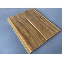 Cheap 5mm Thickness Ceiling PVC Panels For Kitchen Two Golden Line Wooden Color for sale