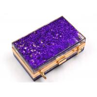 Elegant Purple Transparent Box Clutch Bag , Women Clear Acrylic Handbags
