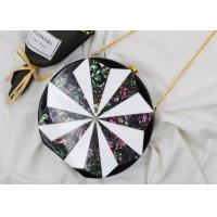 Round Box Shaped Black And Gold Clutch Bag With Windmill Design