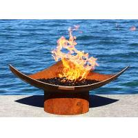 Cheap Corten Steel Modern Fire Bowls Outdoor , Large Metal Fire Pit 50cm Height for sale