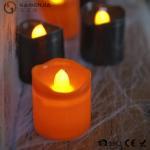 Cheap Black Orange Plastic Halloween LED Tea Light Candles 6 Set RoHS for sale