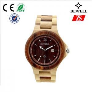 Waterproof Man Wood Wrist Watch , Charming Metal Buckle Wooden Hand Watch