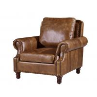 Vintage Brown High Back Leather Armchair , Tall Back Living Room ChairsStrong Linen