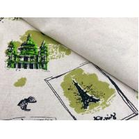 Quality 55/45 LINEN COTTON FABRIC BLENDED WITH SCREEN PRINTED     CWT#5254 for sale