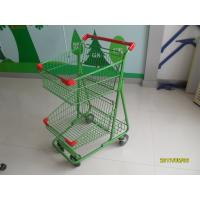 Cheap Two Basket Grocery Shopping Trolley Wire Shopping Cart 656x521x1012mm for sale