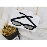 White Shining Acrylic Clutch Bag With Metal Chain And Glasses Pattern
