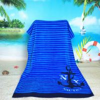Velour Bath Towels Wholesale: Blue Striped Oversized Beach Towels With 100% Terry