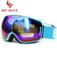 Cheap Wide View Blue Mirrored Ski Goggles Professional Outdoor Sports Equipment for sale
