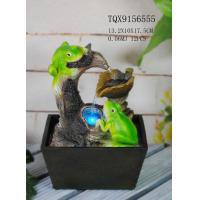 Green Polyresin Frog Water Fountain With Revolving Ball 13.2 X 10 X 17.5 Cm