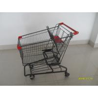 Cheap Durable Grocery Shopping cart trolley With welded low tray and 4x4inch swivel lfat casters for sale