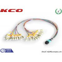 QSFP Fiber MPO MTP Patch Cord , MTP To LC Breakout Cable 24 Fan Out