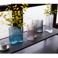Vertical Stripes Irregular Decorative Glass Vases Handmade Tabletop With 3 Size