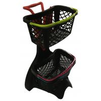 Cheap 580x480x980 Plastic Shopping Basket Trolley With 3 Inch TAPE Wheel for sale