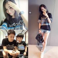 2016 Fashion Parent-child outfits Summer Black Bohimian Style T-shirt Casual style