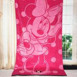 Plain Woven Jacquard Beach Towel Minnie Mickey Mouse Reactive Printed