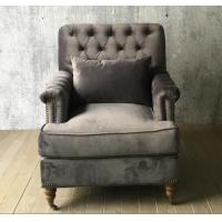 Single Person Button Tufted Sofa Classic Velvet With Casters / Light Natural Finish