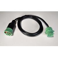 Green Type 2 9 Pin To 9 Pin Serial Cable For Heavy Duty Truck , 1 Year Warranty