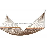 Cheap Soft Spun Deluxe Polyester Rope Hammock , Extra Wide Brown Portable Mesh Hammock for sale