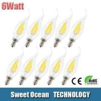 Cheap 6Watt Filament LED Candelabra Bulb E12 E14 Base - Flame Tip 2700K for sale