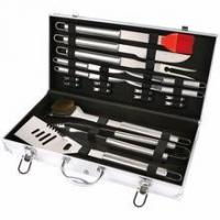 Cheap 19 pcs steel BBQ tool set with Aluminum case for sale
