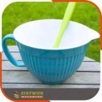 Top Quality Two-tone Plastic Outdoor Salad Bowl With Handle