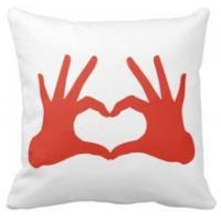 Cheap Pillow love,red hand with heart sign throw cushions pillows for sale