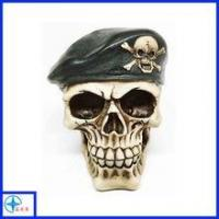 Cheap Shenzhen Soldier Helmet War Skull Skeleton Fright Statue Horror Resin Figurine For Collection for sale
