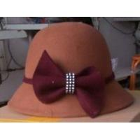 Girls brown wool felt cloche hat with big bow decoration