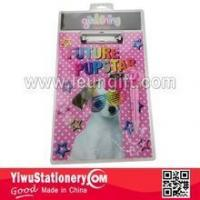 Cheap Blister Packing Pink Dog Printed Writing Paper Clipboard for sale
