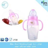 Cheap New Style Infant Baby 240ML Wide Neck Anti-microbial Silicone Feeding Bottle With Handles and Straw for sale