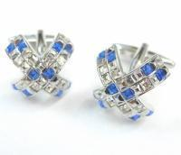 Cheap - Blue and White Crystals Cross Cufflinks for sale