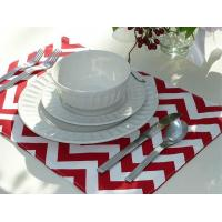 Set of 4 Reversible Placemats - Red Chevron & Red Striped
