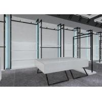 Cheap Simple Nice Men Clothing Display Case / Apparel Store Fixtures Glossy White Color for sale