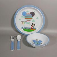 Cheap 3 Piece Plate And Bowls Melamine Children's Dishes Set And Cultery for sale