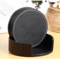 Cheap Wholesale Cheaper Leather Coaster/Cup &Glass Coaster with holder for sale